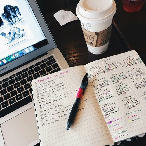 aesthetic, agenda, journal, macbook, office, planner, starbucks