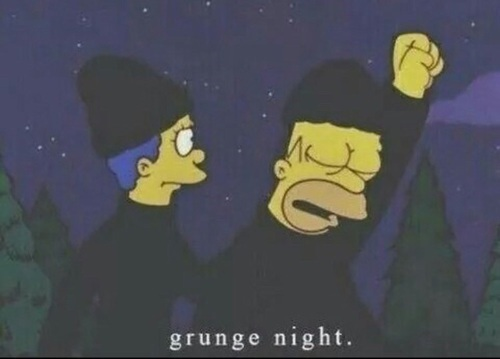 grunge, homer, marge and night