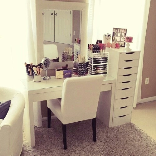 bedroom, decor, ikea, makeup, room - image #4025669 by ...