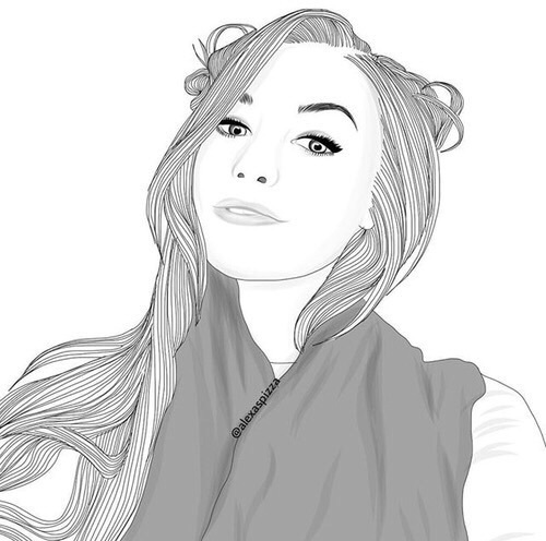 Snap Black And White Cool Cute Drawing Girl Outline Photos