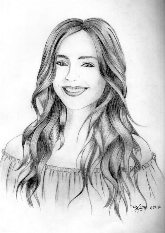 Drawing Pencil Sketch Girl Drawing Lily Collins Pencil Sketch