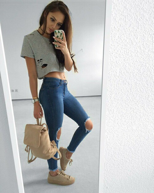 cute fashion jeans outfit tumblr image 4703879 by
