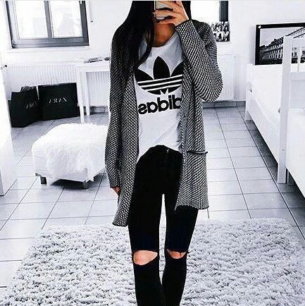 Adidas Black Fashion Girl Style Image 4705979 By Tschissl On