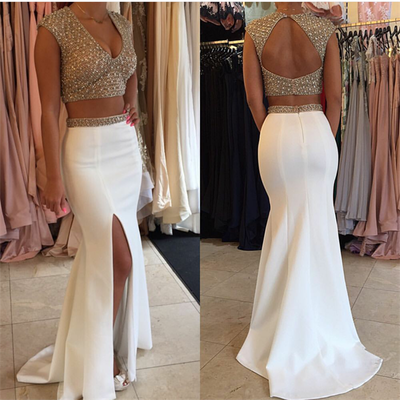 cheap prom dresses, cute dresses, mermaid prom dresses, Two Pieces Prom Dresses, open back prom dresses