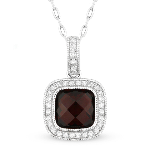 chain necklace, diamond, garnet, 14k White Gold, Halo Pendant